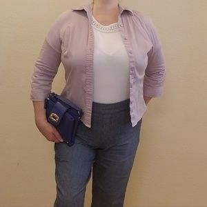 Lilac, Fitted, Button Front Shirt w/ 3/4 sleeves